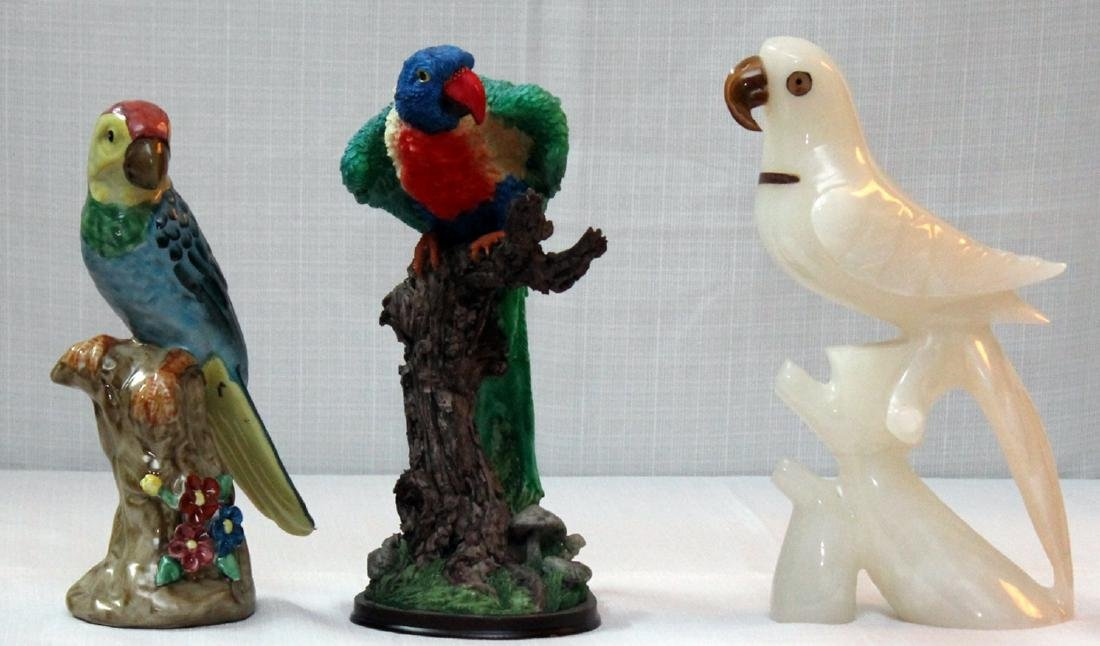 3 bird statues -- carved stone, resin & ceramic;