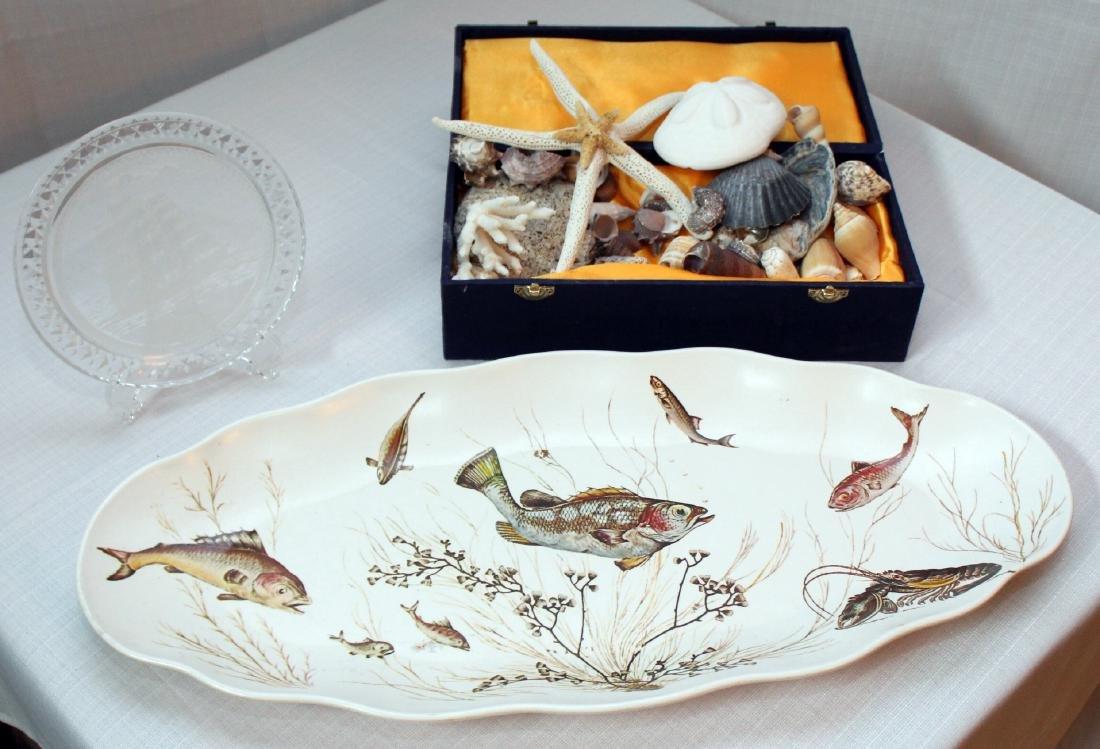 lot asstd seashells 30+; resin fish platter & glass