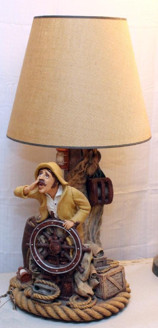 "Apsit signed nautical fisherman table lamp; 14"" x 34.5"""