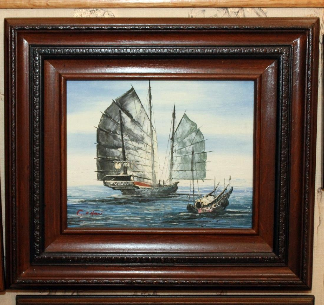 "2 oil on board paintings of Junks, signed; 16"" x 14"""