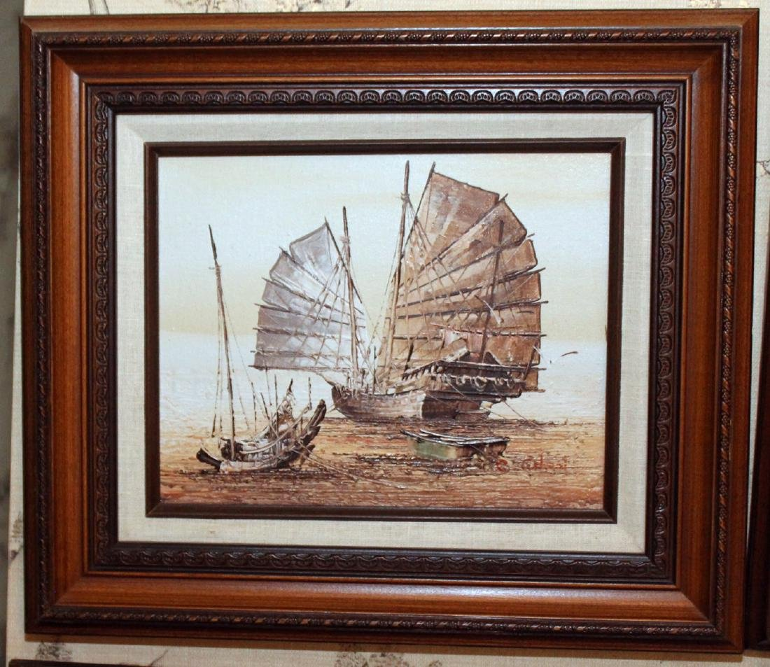 "2 oil on board paintings of Junks, signed; 16"" x 14"" - 2"