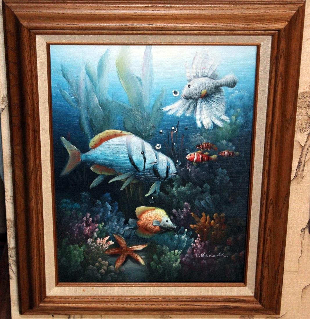 1 O/C & 1 oil on board of aquatic life; largest is