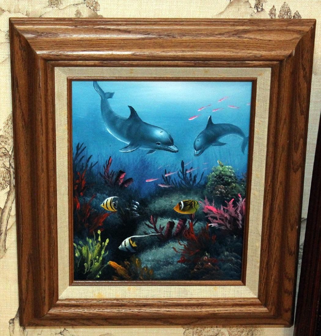 1 O/C & 1 oil on board of aquatic life; largest is - 2