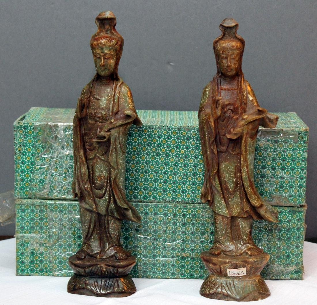2 carved hardstone Guanyin figures in presentation
