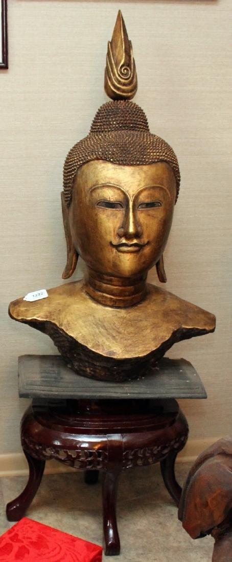 Thai wood carved gilt deco Buddha head on stand, head