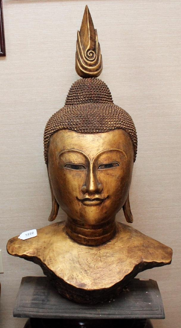 Thai wood carved gilt deco Buddha head on stand, head - 2