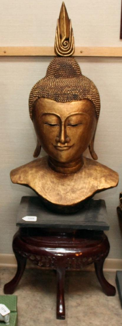 Thai wood carved gilt deco Buddha head on stand; head