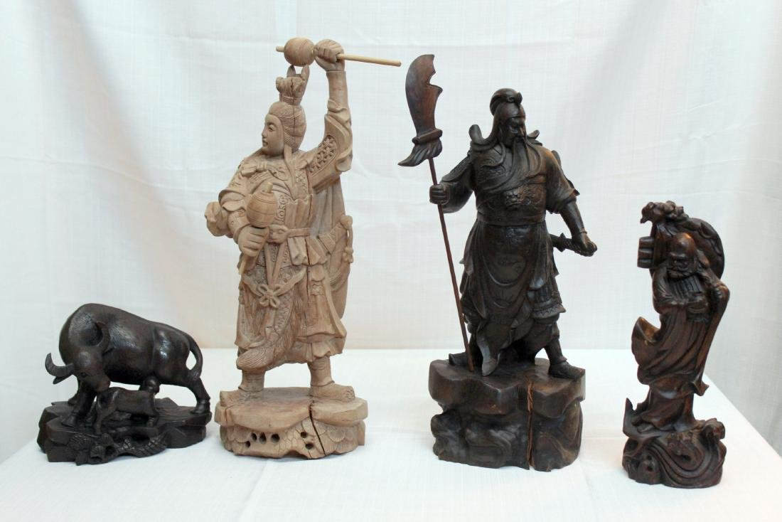 4 Chinese wd carved statues -- warrior, wisemen, water