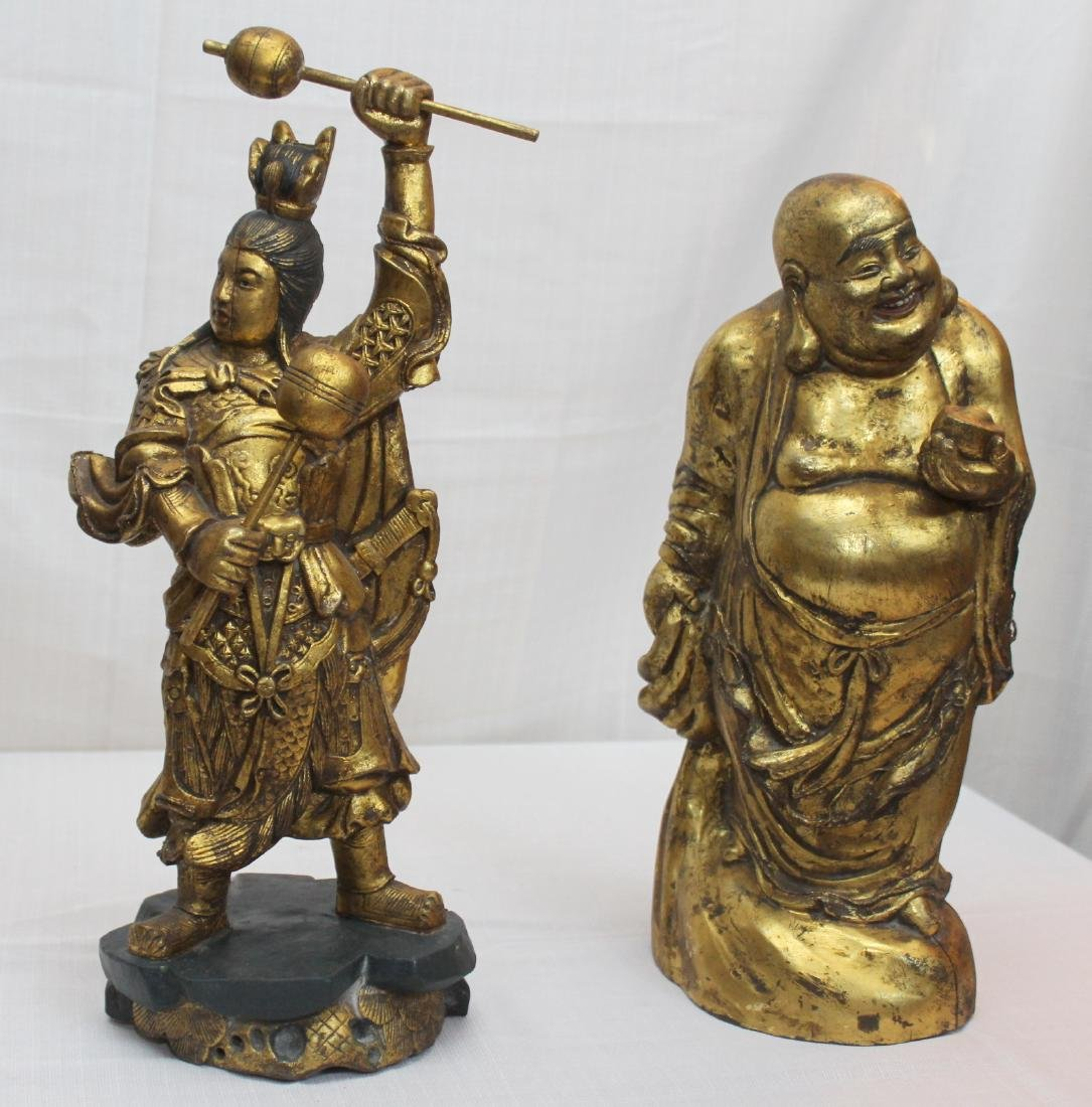 2 Chinese wd carved gilted statues Happy Fat Man is