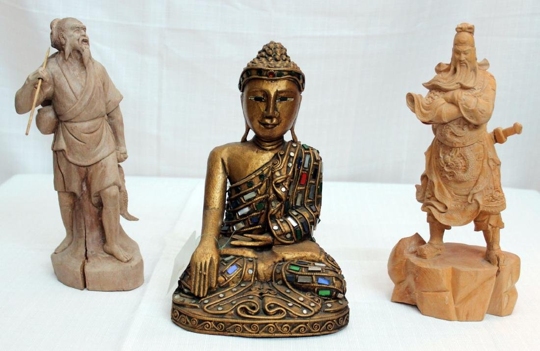 Chinese & Thai carved wdn figures of Buddha, warrior &