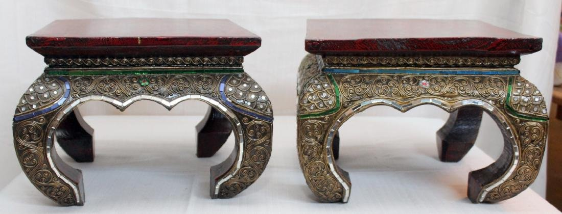 "pair Thai wd carved mirror applied stands; 13"" x 9.5"""