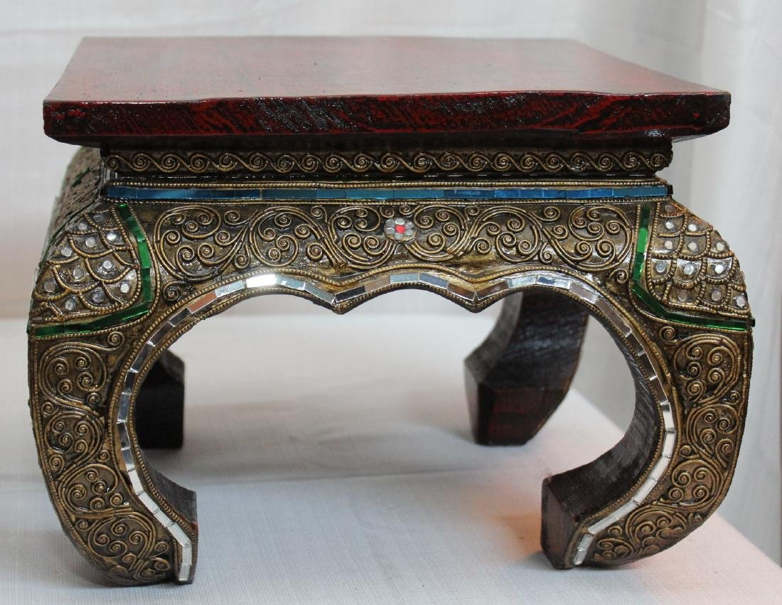 "pair Thai wd carved mirror applied stands; 13"" x 9.5"" - 3"
