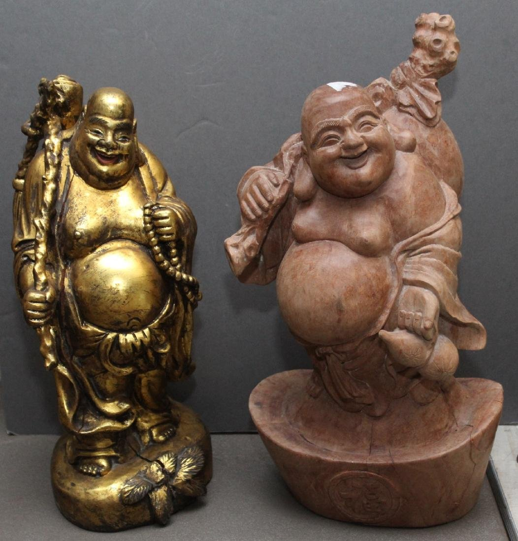 2 Chinese carved happy fat men, 1 being gilted; both