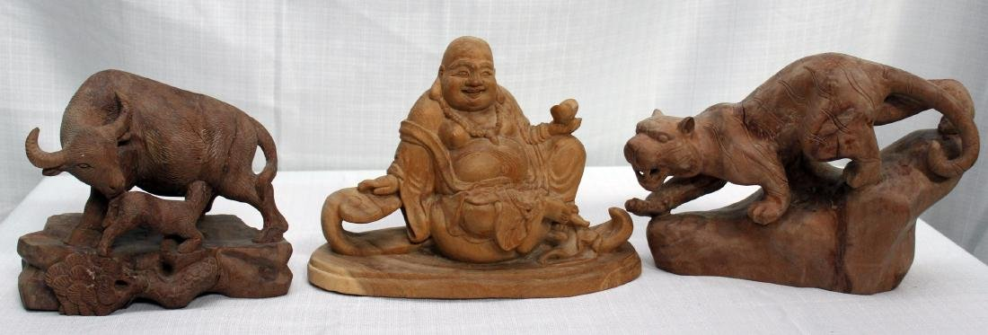 set of 3 Chinese carved wd figures -- tiger, water