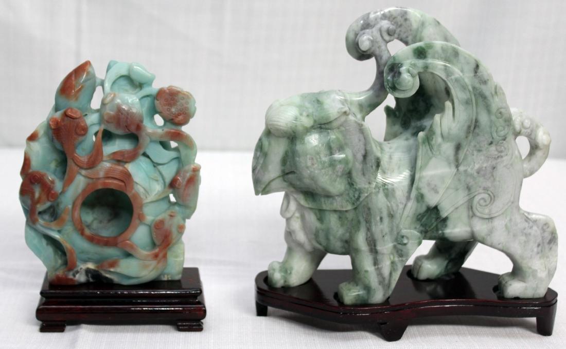 "carved Jade hardstone fish 5"" x 6.5"" & mythical beast"