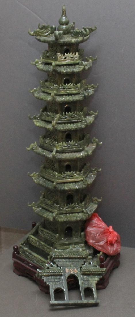 carved Jade hardstone pagoda, entrance is loose but