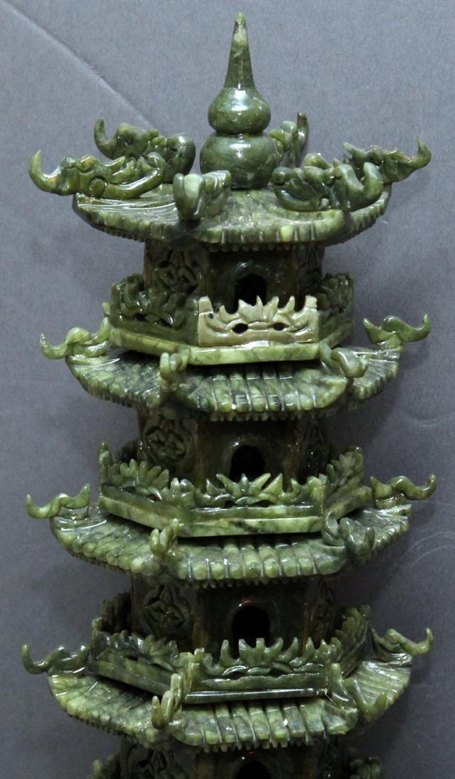 carved Jade hardstone pagoda, entrance is loose but - 2