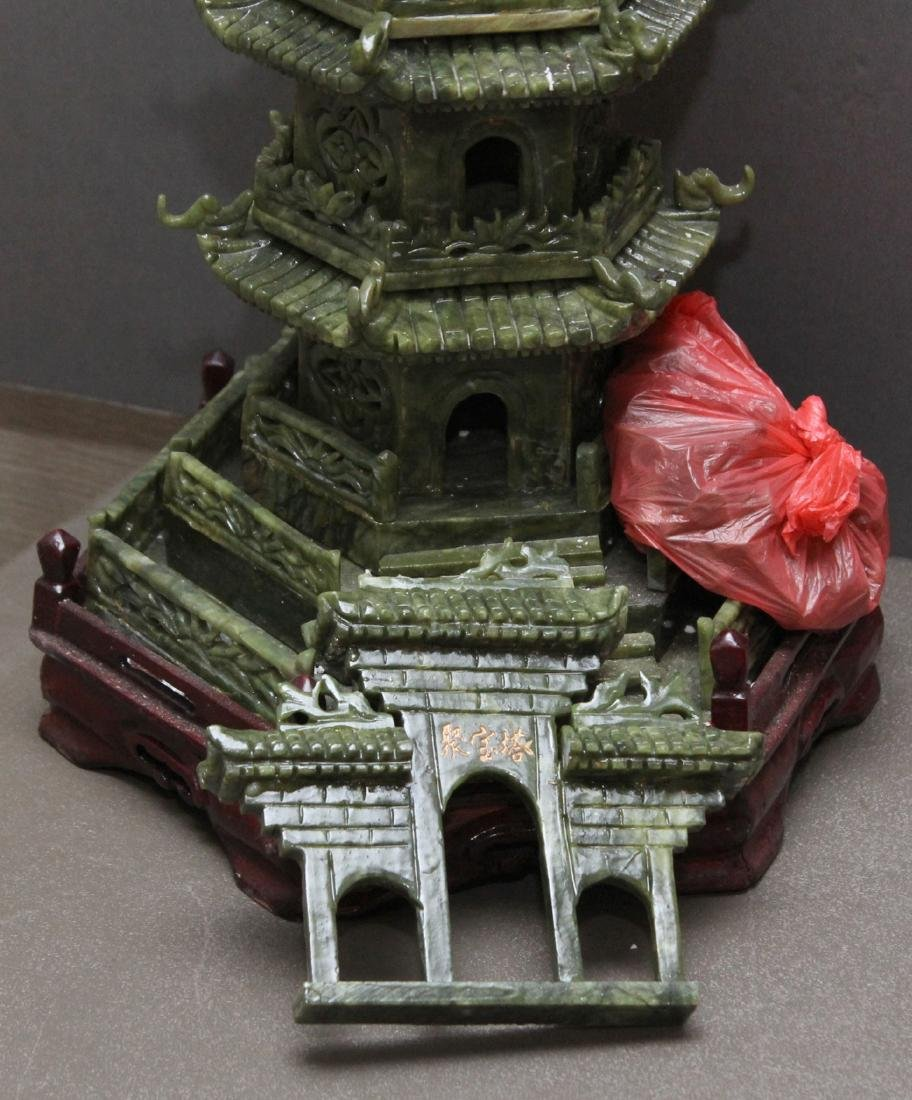 carved Jade hardstone pagoda, entrance is loose but - 4