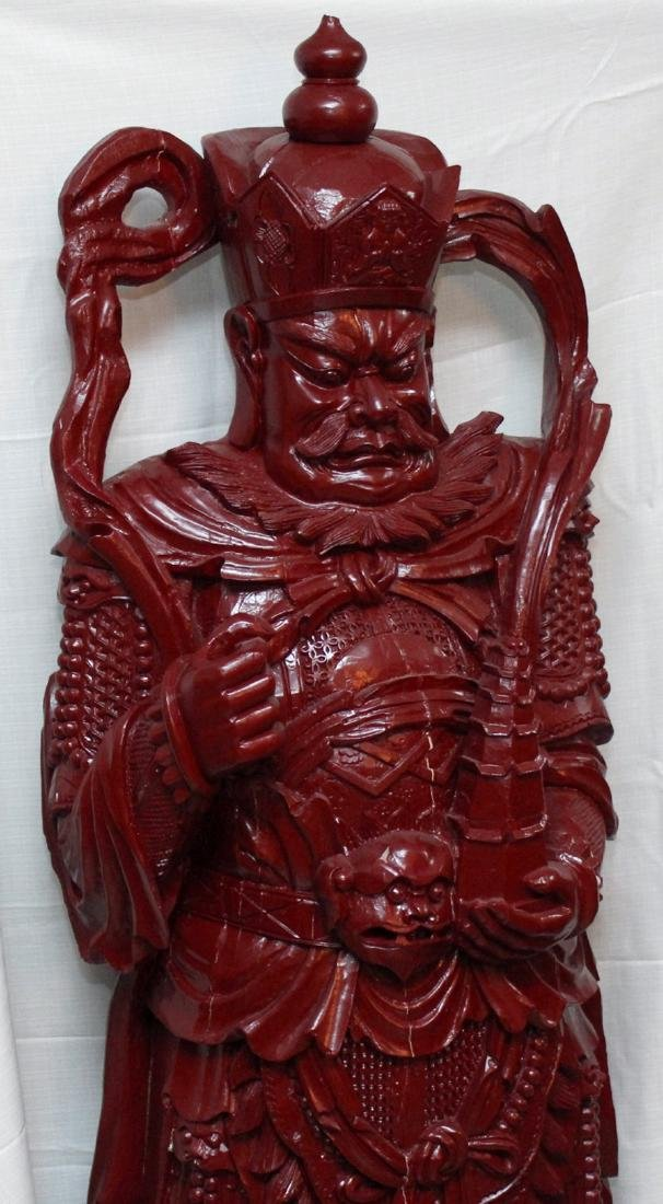 Chinese wd carved wiseman in red, showing few light - 2
