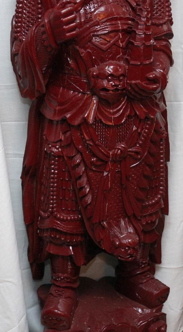 Chinese wd carved wiseman in red, showing few light - 3