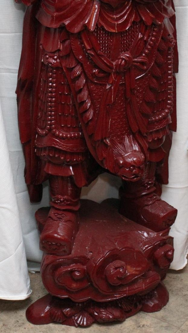 Chinese wd carved wiseman in red, showing few light - 4