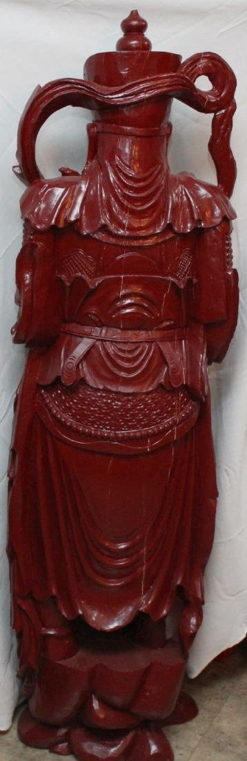 Chinese wd carved wiseman in red, showing few light - 5