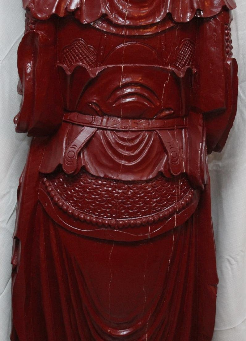Chinese wd carved wiseman in red, showing few light - 7