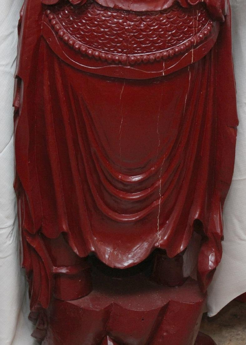Chinese wd carved wiseman in red, showing few light - 8