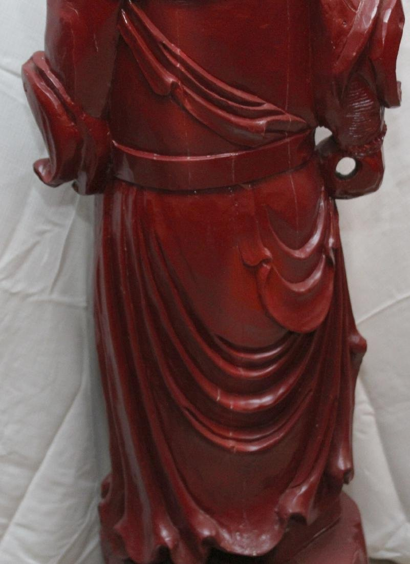 Chinese carved wdn warrior in red showing few light - 7