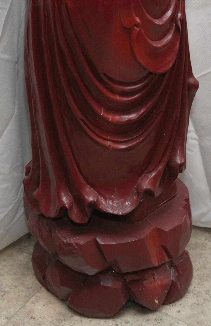 Chinese carved wdn warrior in red showing few light - 8