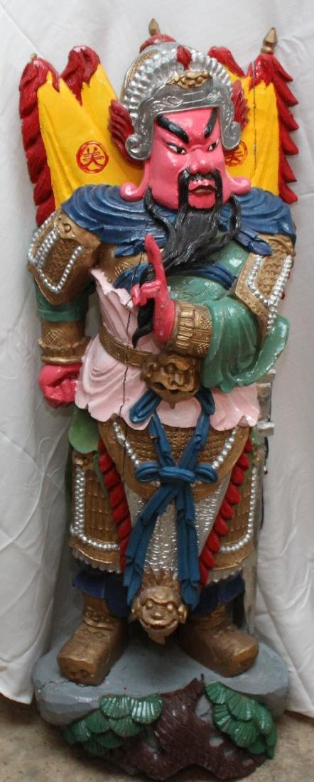 Chinese carved wdn paint decorated full color wiseman,