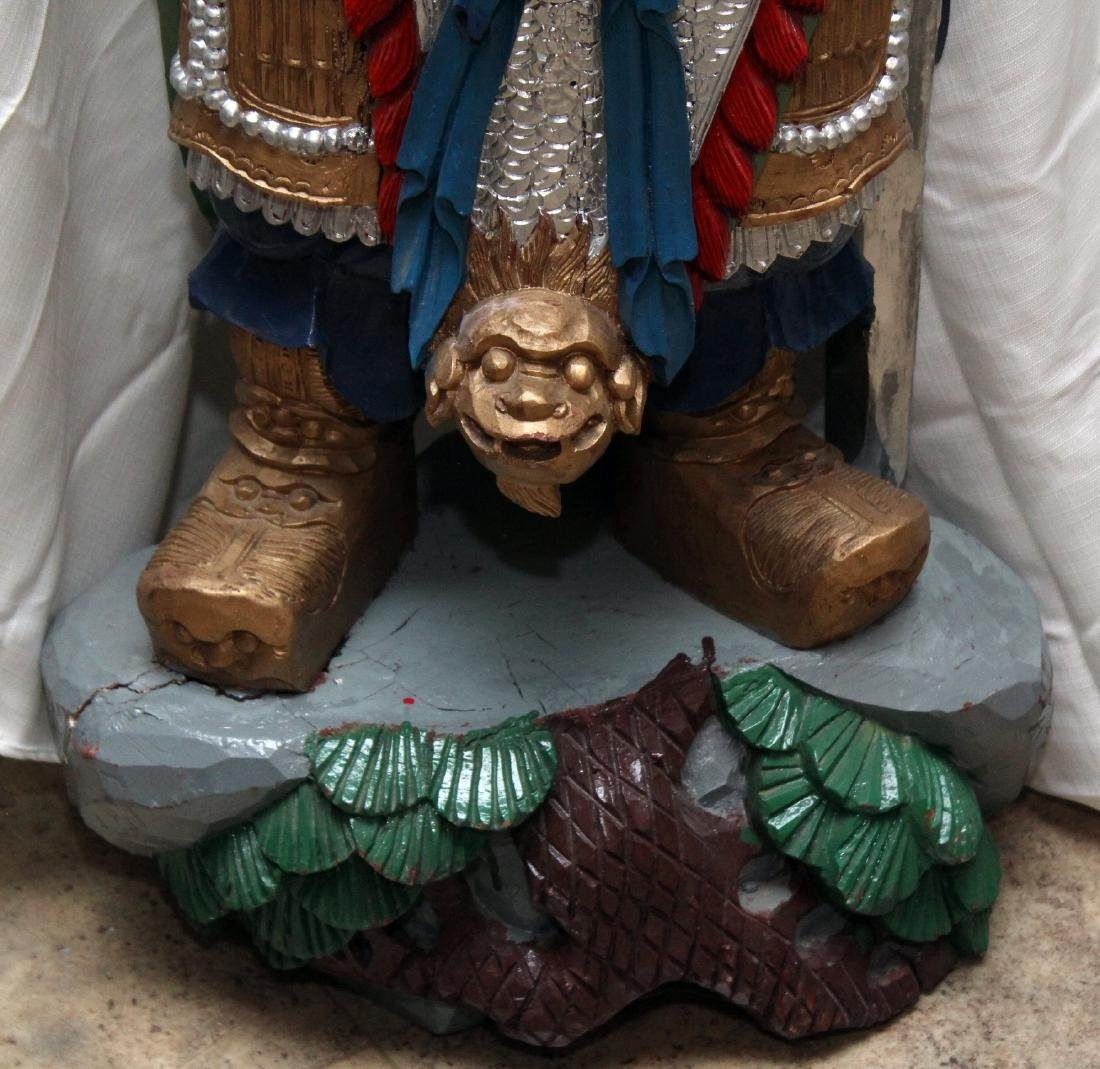 Chinese carved wdn paint decorated full color wiseman, - 4
