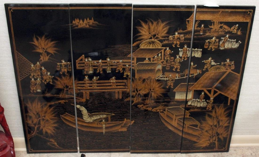 Chinese black lacquer 4 panel set of market scene