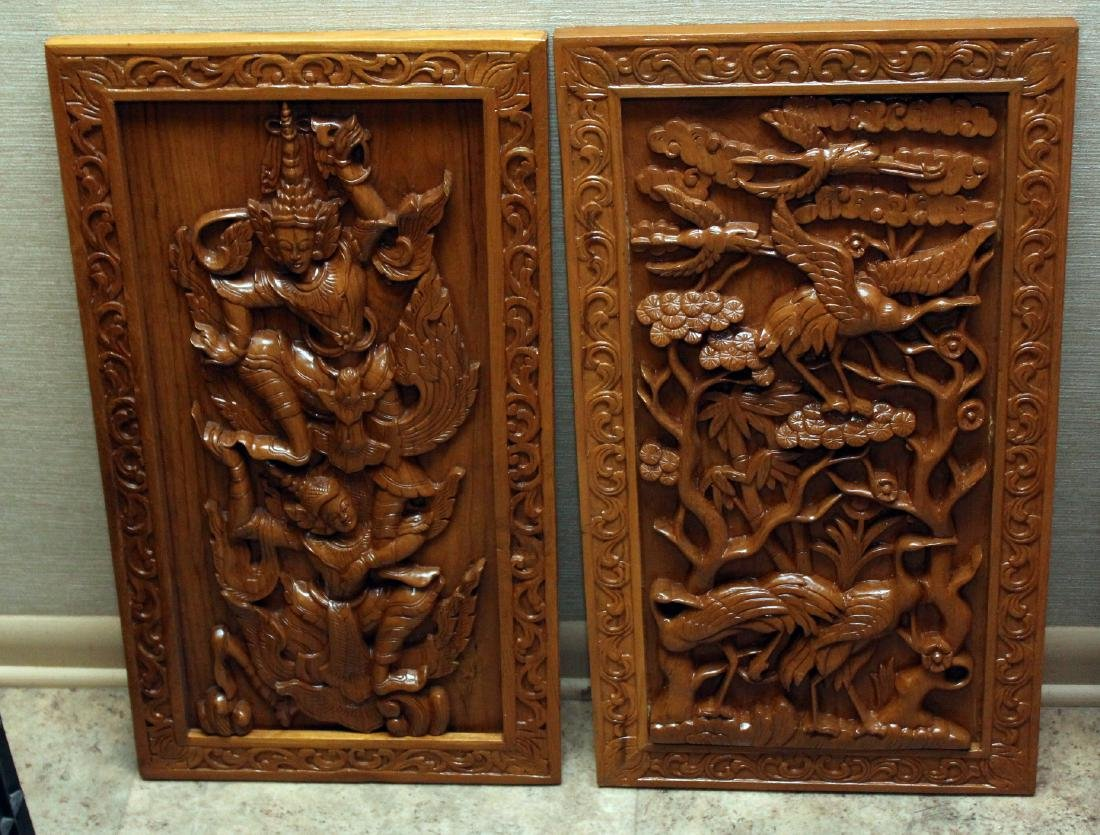 pair Burmese wd carved panels -- 1 is birds 1 is