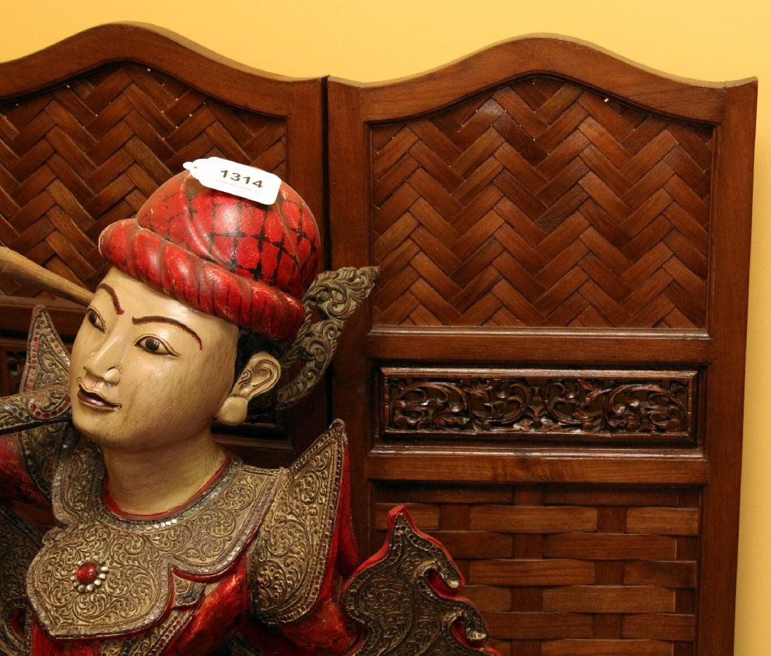 """Chinese wd carved & woven 5 panel screen. 72.5"""" x 50"""" - 2"""
