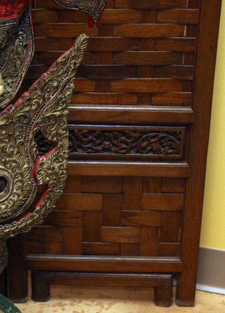"""Chinese wd carved & woven 5 panel screen. 72.5"""" x 50"""" - 3"""