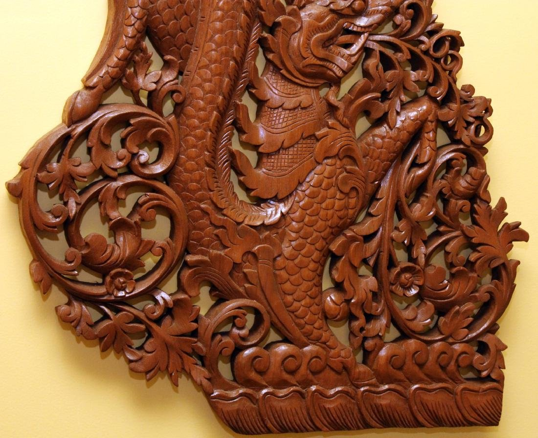 "Pr. Burmese wd carved dragon wall panels 22"" x 36"" - 4"