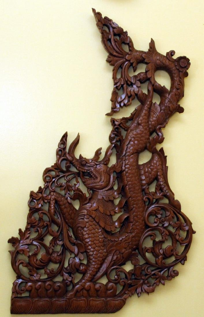 "Pr. Burmese wd carved dragon wall panels 22"" x 36"" - 5"