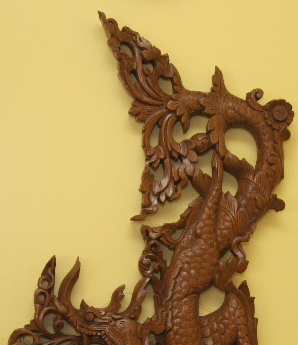 "Pr. Burmese wd carved dragon wall panels 22"" x 36"" - 6"