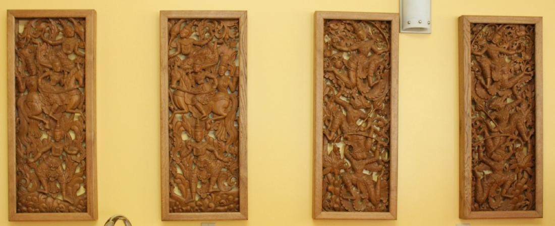 """Set of 4 Burmese wd carved panels 15.75"""" x 38.5"""""""