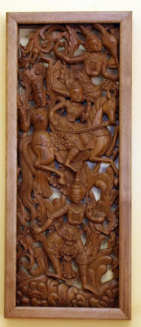 """Set of 4 Burmese wd carved panels 15.75"""" x 38.5"""" - 2"""