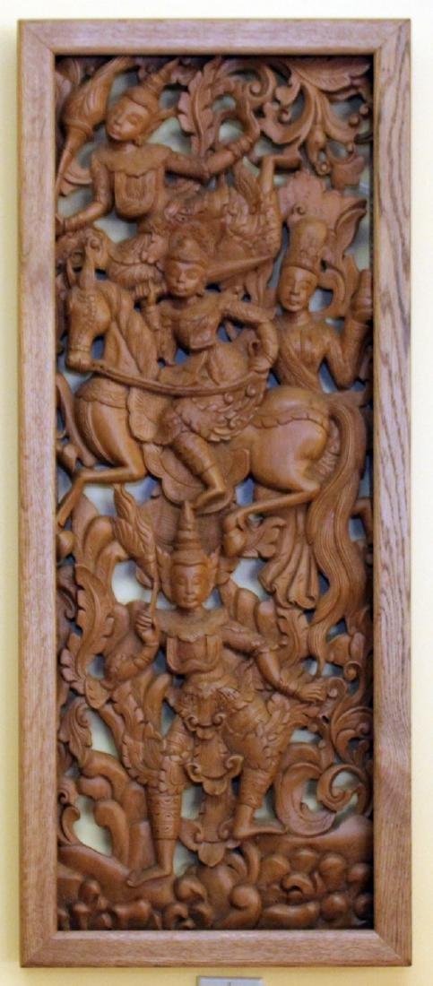 """Set of 4 Burmese wd carved panels 15.75"""" x 38.5"""" - 3"""