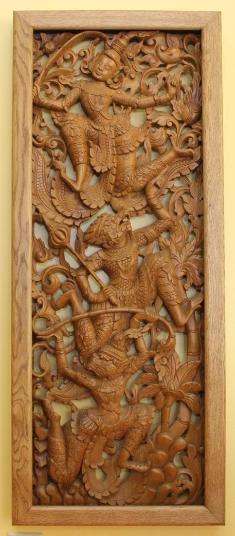 """Set of 4 Burmese wd carved panels 15.75"""" x 38.5"""" - 5"""