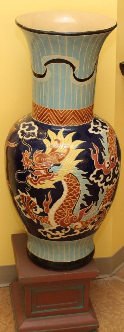 "Large glazed dragon vase on stand.  Vase 14"" x 32"""