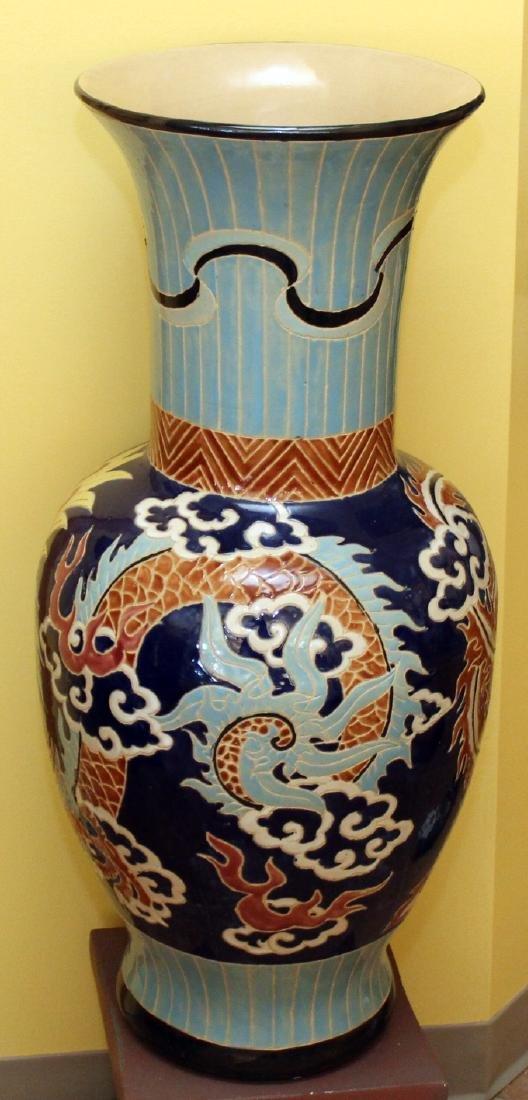 "Large glazed dragon vase on stand.  Vase 14"" x 32"" - 2"