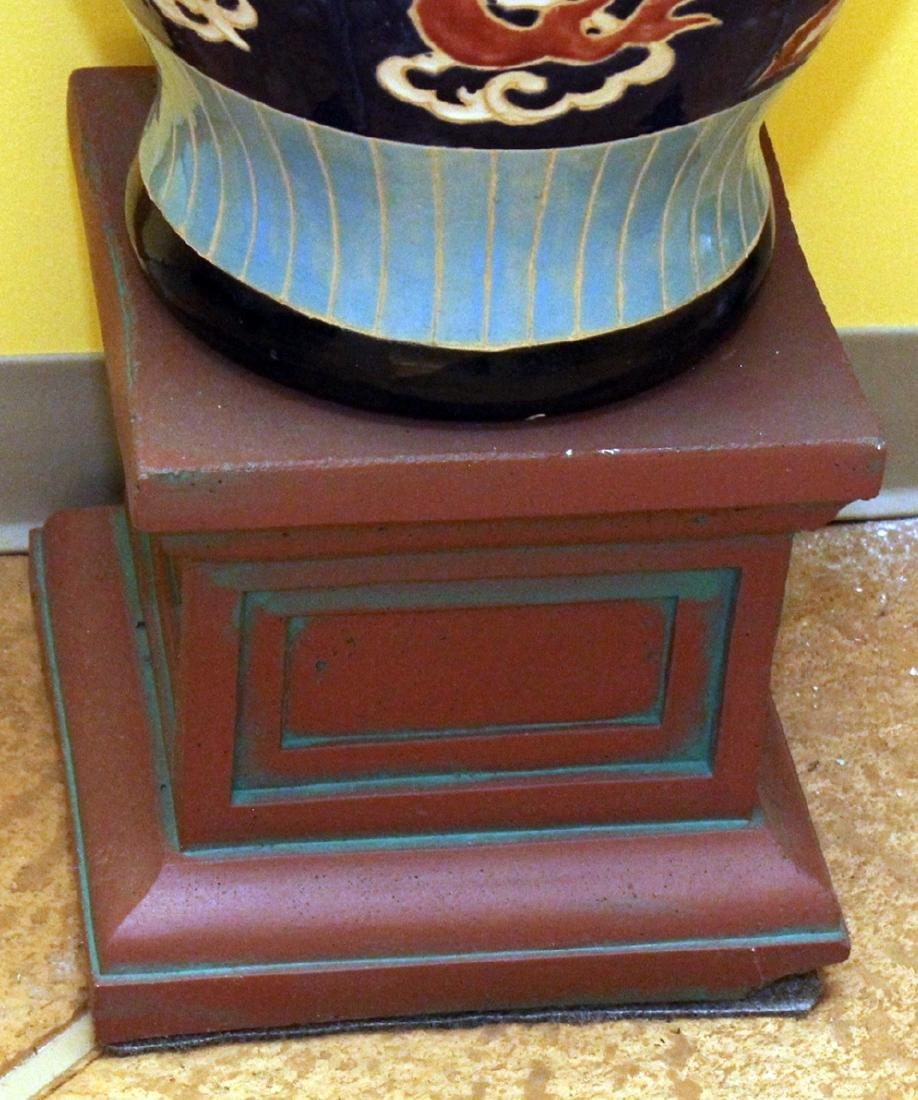 "Large glazed dragon vase on stand.  Vase 14"" x 32"" - 3"