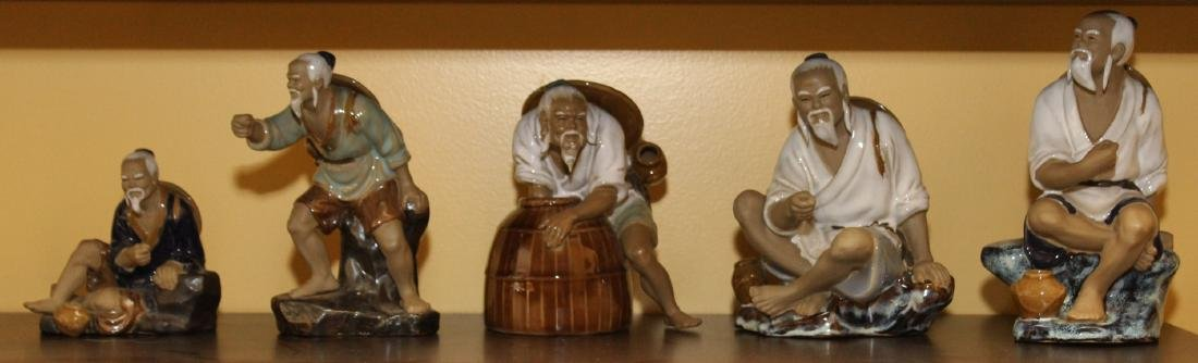Set of 5 glazed clay Chinese figures of fishermen, etc.