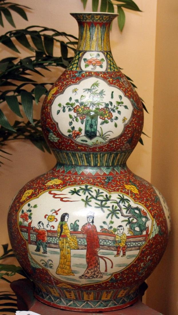 "Chinese glazed 4 panel dbl gourd vase 14"" x 25"""