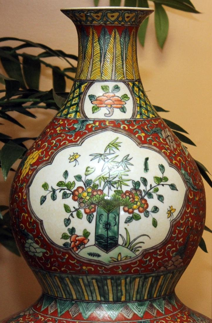 "Chinese glazed 4 panel dbl gourd vase 14"" x 25"" - 2"