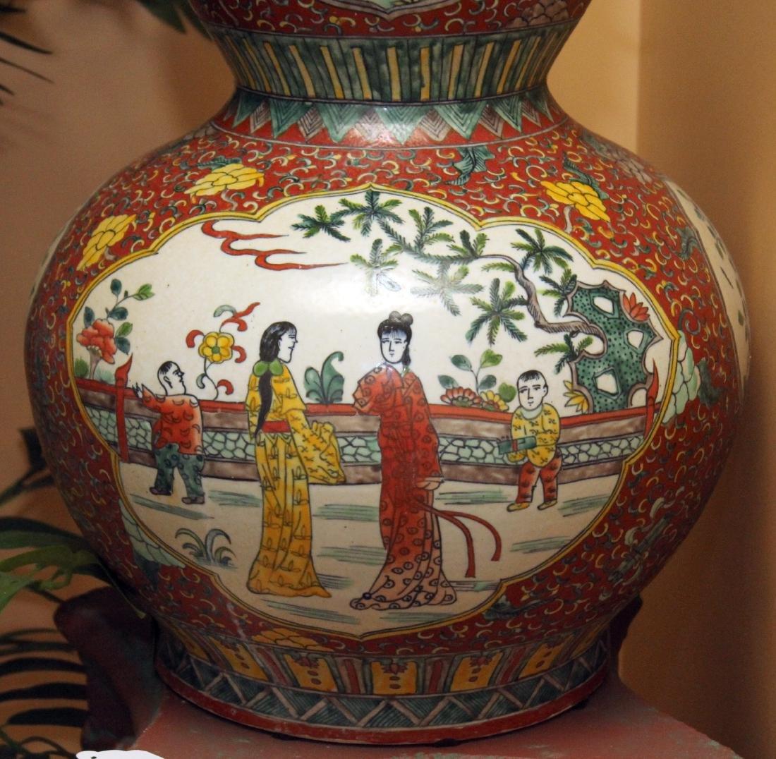 "Chinese glazed 4 panel dbl gourd vase 14"" x 25"" - 3"